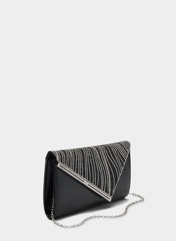 Metallic Envelope Clutch, Black,  clutch, metallic clutch, envelope clutch, fall 2019, winter 2019