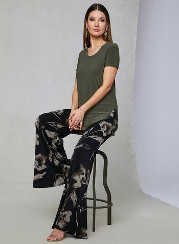 Joseph Ribkoff - Floral Print Wide Leg Pants, Black, hi-res