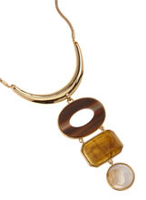 Tiered Geometric Pendant Necklace, Brown, hi-res