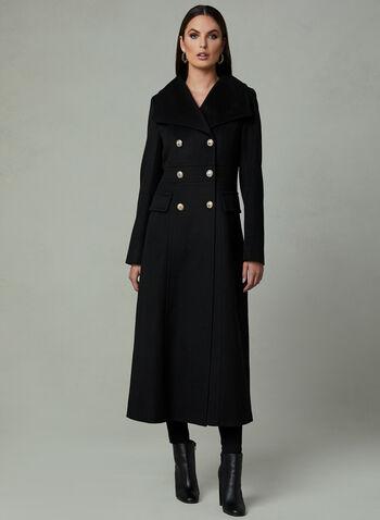 Karl Lagerfeld Paris - Manteau long style redingote, Noir, hi-res
