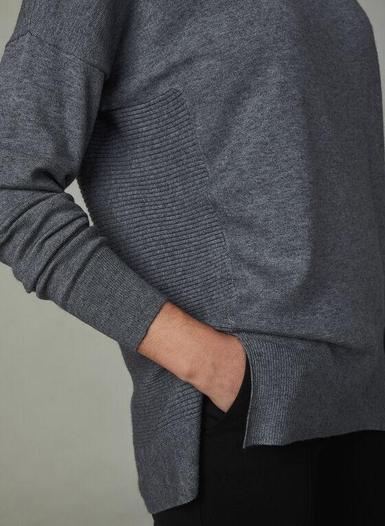 Pull à col roulé et tricot texturé, Gris