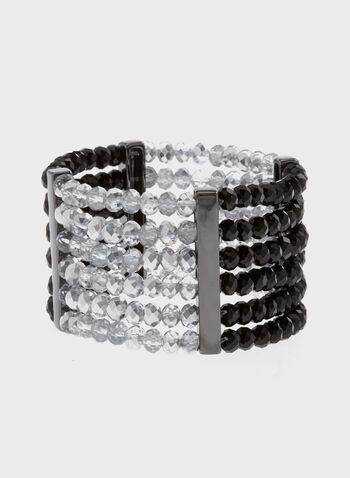 Multi-Row Stretch Beaded Bracelet, Black, hi-res