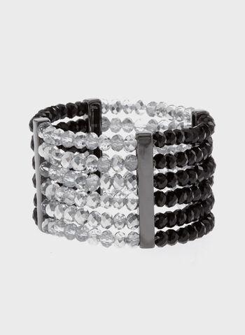 Bracelet bicolore élastiqué avec perles facettées, Noir, hi-res