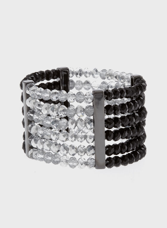 Multi-Row Stretch Beaded Bracelet, Black, hi-res