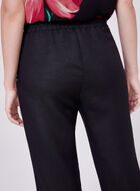 Wide Leg Linen Capri Pants, Black, hi-res