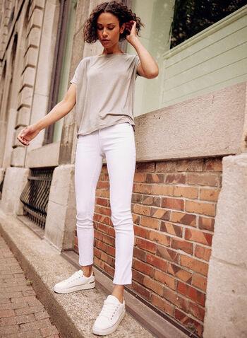 Jeans à jambe étroite  , Blanc,  printemps été 2021, bas, jeans, denim, jambe étroite, étroit, bouton, glissière, anses, longueur cheville