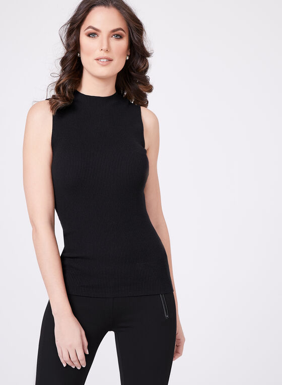 Sleeveless Mock Turtleneck Sweater, Black, hi-res