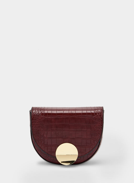 Crocodile Print Saddle Bag, Red
