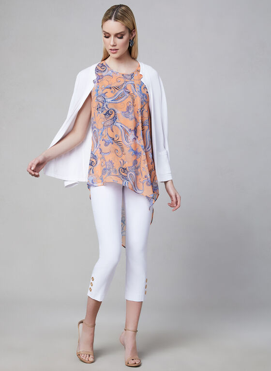 Blouse asymétrique motif cachemire, Orange, hi-res