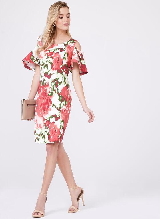 Cenia New York – Floral Print Cold Shoulder Dress, Multi, hi-res