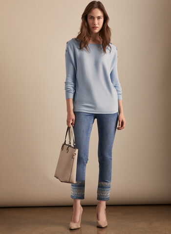 Dolman Sleeve Button Detail Sweater, Blue,  sweater, ribbed knit, dolman sleeve, button details, boat neck, spring summer 2020
