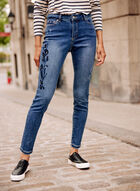 Floral Embroidery Slim Leg Jeans, Blue