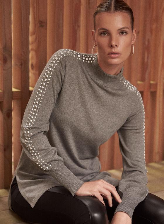 Mock Neck Knit Tunic, Grey