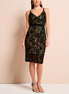 Contrast Lace Slip Dress, Black, hi-res