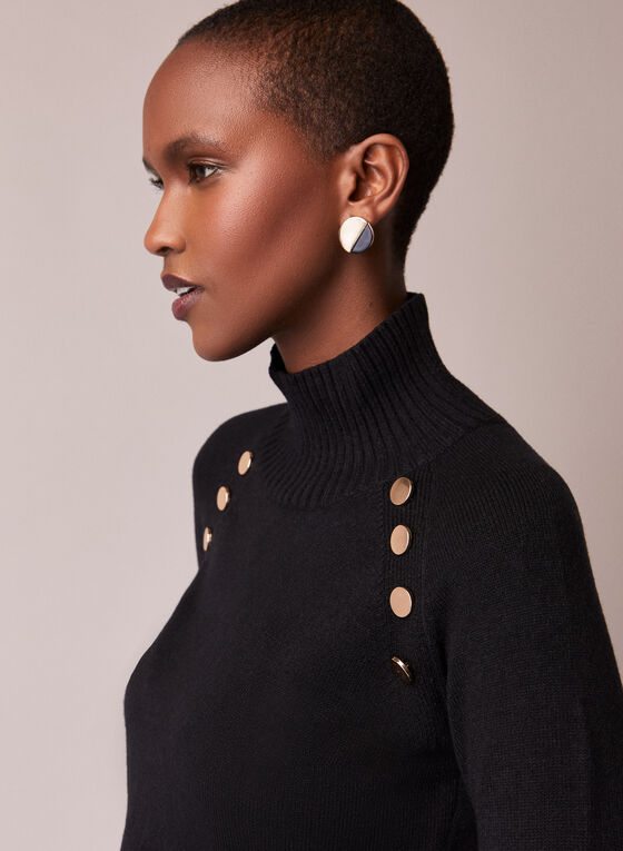 Button Detail Mock Neck Sweater, Black