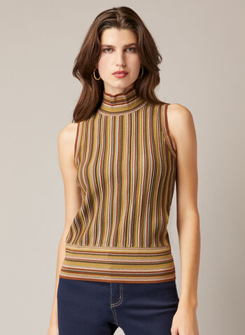 Sleeveless Striped Sweater, Green,  fall winter 2020, sweater, sleeveless, high collar, funnel neck, waist band, pattern, striped, stripes, knit
