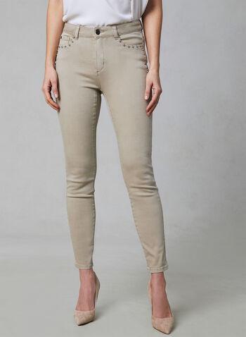 Studded Sculpting Jeans, Off White, hi-res,  sculpting, denim, jeans, slim leg, spring 2019