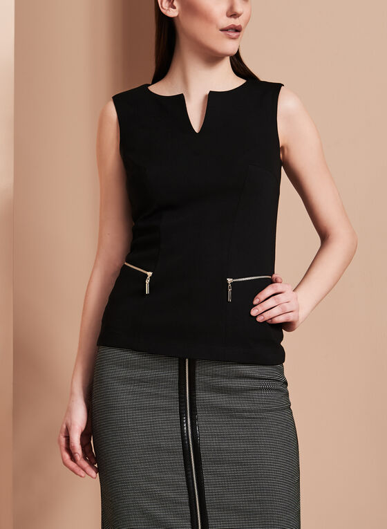 Split Neck Zipper Trim Top, Black, hi-res