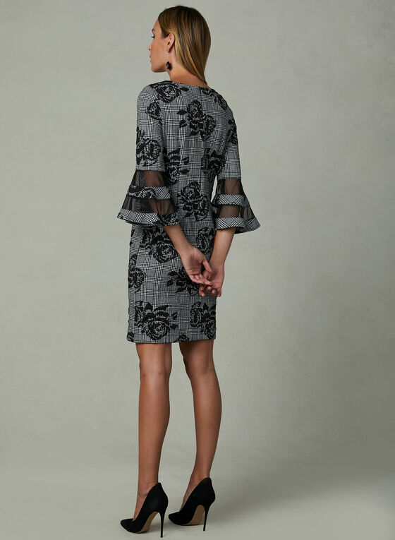 Sandra Darren - Houndstooth Print Dress, Black, hi-res