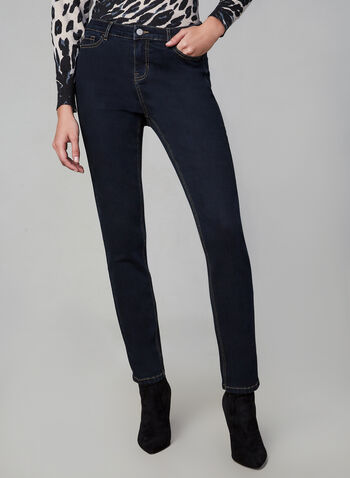 Sculpting Straight Leg Jeans, Blue, hi-res,  straight leg, tummy control, belt loops, 5 pockets, mid rise, fall 2019, winter 2019