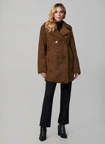 Double Breasted Teddy Coat, Brown, hi-res,  fall winter 2019, teddy coat, long sleeves, knit