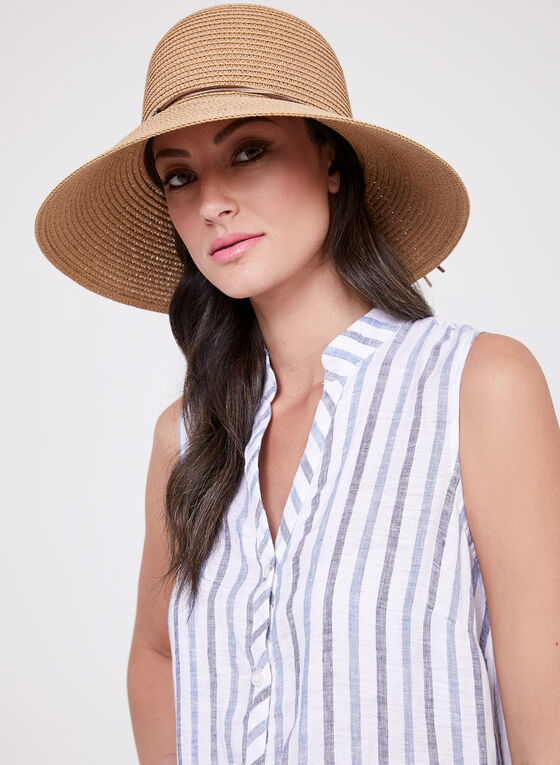Sleeveless Stripe Print Tunic, White, hi-res