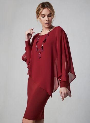 Joseph Ribkoff - Robe poncho à manches ajourées, Rouge, hi-res,  robe cocktail, manches longues, ajourées, mousseline, col dégagé, automne hiver 2019