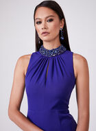 Beaded Neck Mermaid Dress, Blue, hi-res