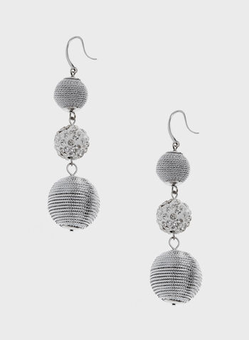 Ball Dangle Earrings, Silver, hi-res