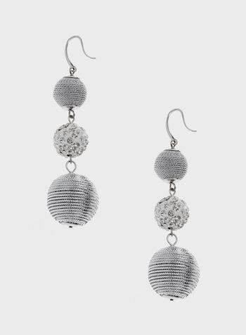 Boucles d'oreilles avec pendants sphères, Argent, hi-res