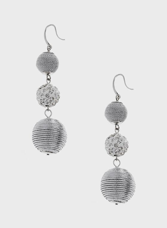 Ball Dangle Earrings, Silver, hi-res