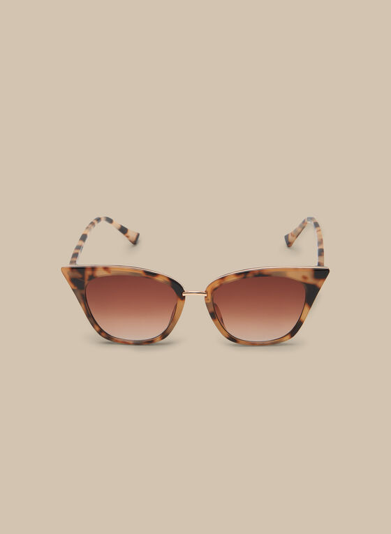 Cat Eye Plastic Sunglasses, Brown