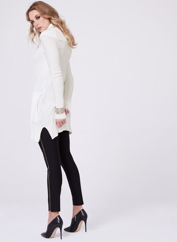 Cowl Neck Knit Tunic, Off White, hi-res