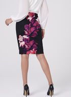 Floral Print Scuba Pencil Skirt , Black, hi-res