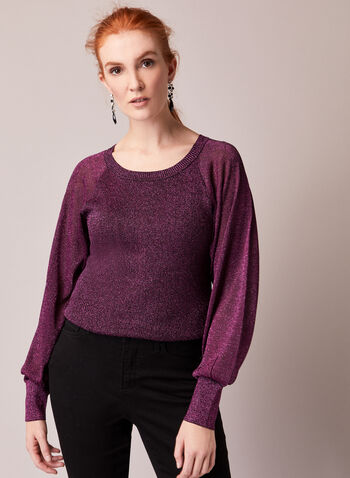 Shimmer Sweater With Puffed Sleeves , Purple,  fall winter 2020, parties, knit, sweater, long sleeves, puff sleeves, metallic, shiny, party, holiday