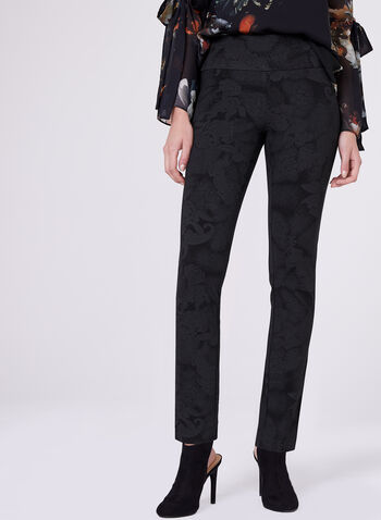 Pantalon Madison pull-on à jambe étroite motif rétro, Noir, hi-res