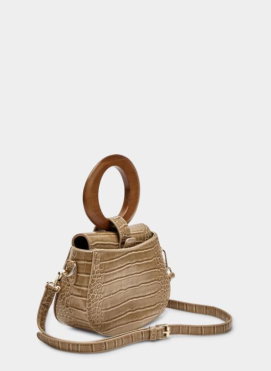 Faux Crocodile Handbag, Brown, hi-res