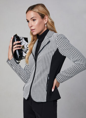 Houndstooth Print Jacket , Black,  long sleeves, notch collar, houndstooth, zipper, fall 2019, winter 2019