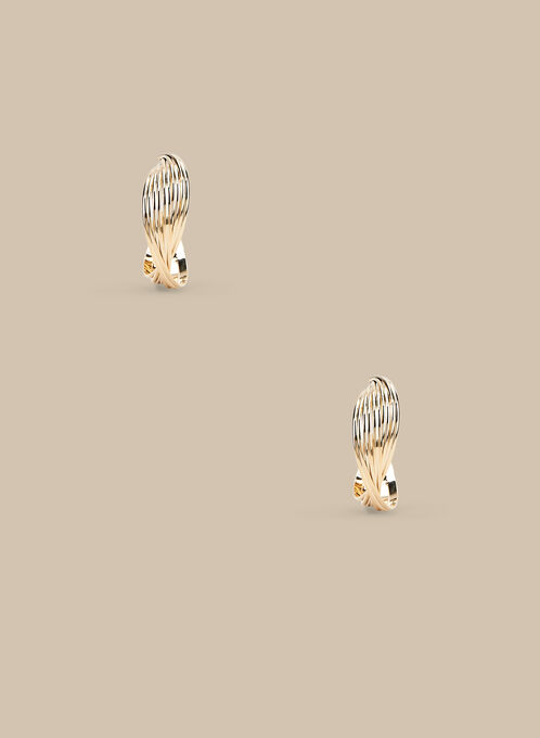 Textured Hoop Earrings , Gold