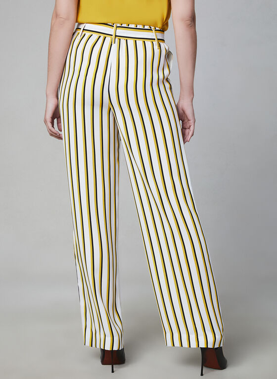 Pantalon à jambe large et rayures, Blanc