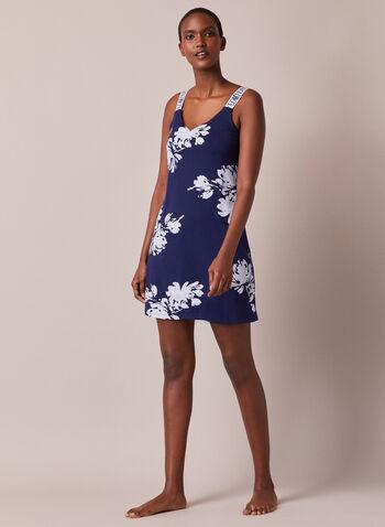 Chemise de nuit à imprimé floral , Bleu,  vêtements de nuit, sans manches, chemise de nuit, motif floral, automne hiver 2020