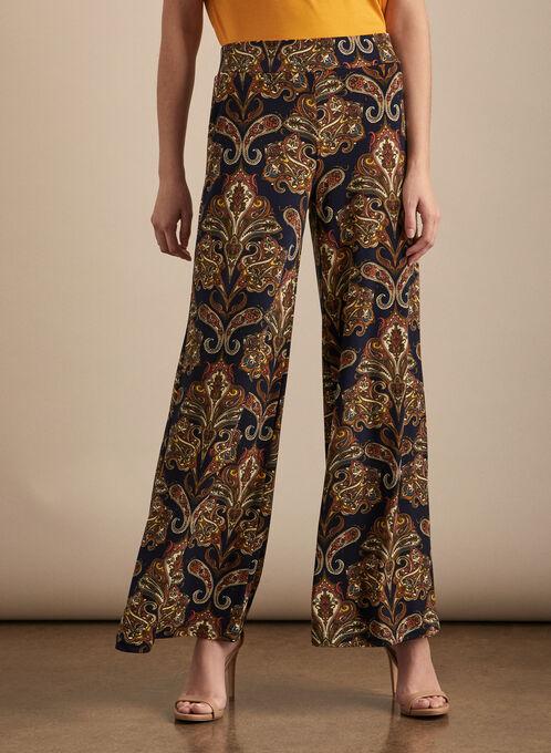 Pantalon motif cachemire à jambe large, Bleu