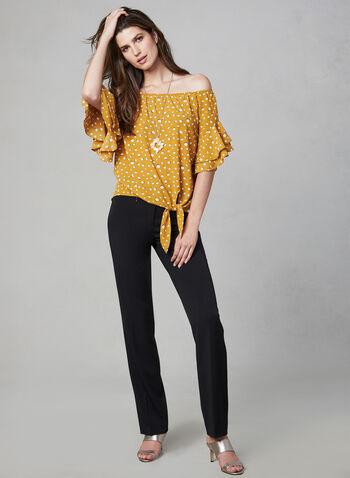 Polka Dot Print Off-the-Shoulder Top, Yellow, hi-res,  flutter sleeves, short sleeves, dot print, tie detail, fall 2019, winter 2019
