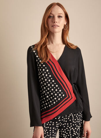 Joseph Ribkoff - Asymmetric Print Top, Black,  top, blouse, v-neck, long sleeves, asymmetric, kimono, chiffon, print, geometric, polka dot, side tie, spring summer 2020