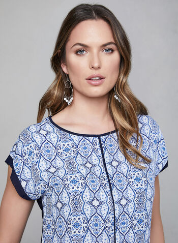 Tile Print Top, Blue, hi-res,  short sleeves, scoop neck, contrast trim, spring 2019, summer 2019