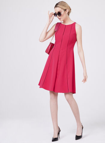 Maggy London - Fit & Flare Crepe Dress , Red, hi-res