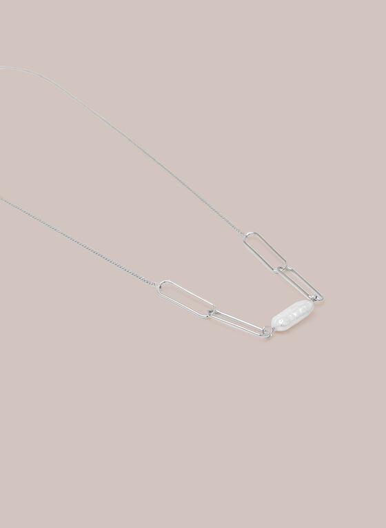 Collier à liens et perles , Blanc cassé