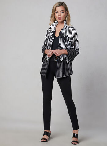Frank Lyman - Mesh & Satin Jacket, Black, hi-res,  fall 2019, winter 2019, satin, mesh, 3/4 bell sleeves, button down