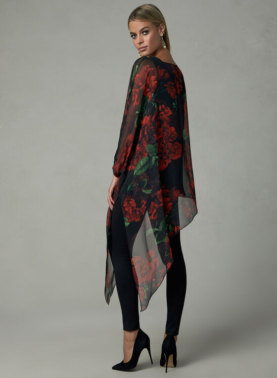 Compli K– Asymmetric Floral Print Tunic, Black, hi-res