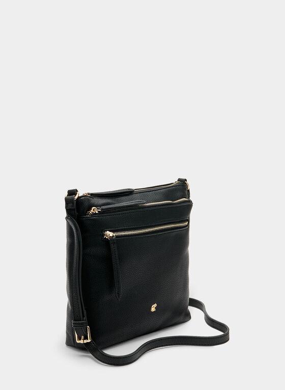 Faux Leather Crossbody Bag, Black, hi-res
